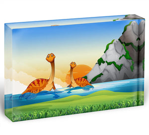 Two dinosaurs in the lake Acrylic Block - Canvas Art Rocks - 1