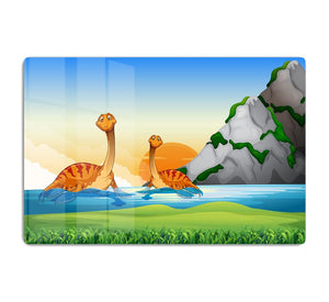 Two dinosaurs in the lake HD Metal Print