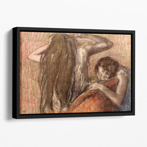 Two girls by Degas Floating Framed Canvas