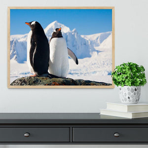 Two penguins dreaming together sitting on a rock Framed Print - Canvas Art Rocks - 4