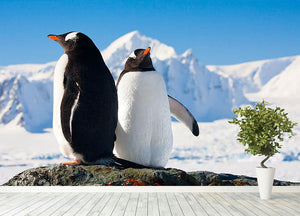 Two penguins dreaming together sitting on a rock Wall Mural Wallpaper - Canvas Art Rocks - 4
