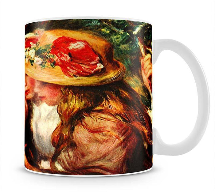 Two reading girls in a garden by Renoir Mug