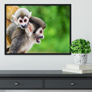 Two squirrel monkeys Framed Print - Canvas Art Rocks - 2
