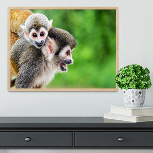 Two squirrel monkeys Framed Print - Canvas Art Rocks - 4