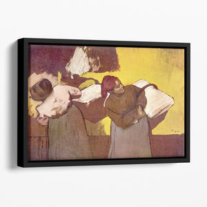 Two washer women by Degas Floating Framed Canvas