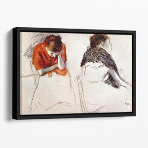Two women seated by Degas Floating Framed Canvas
