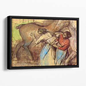 Two women washing horses by Degas Floating Framed Canvas
