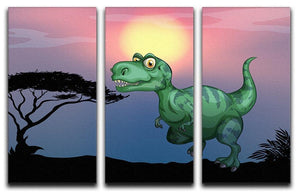 Tyrannosaurus rex in the field 3 Split Panel Canvas Print - Canvas Art Rocks - 1