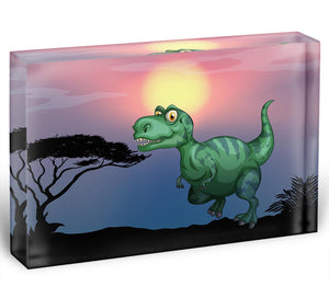 Tyrannosaurus rex in the field Acrylic Block - Canvas Art Rocks - 1