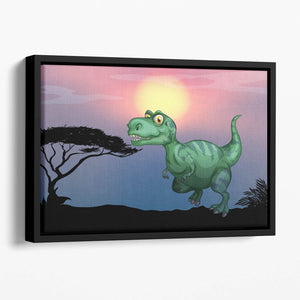 Tyrannosaurus rex in the field Floating Framed Canvas