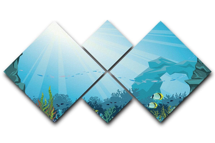 Underwater arch on a blue sea 4 Square Multi Panel Canvas