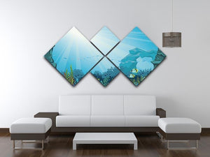 Underwater arch on a blue sea 4 Square Multi Panel Canvas  - Canvas Art Rocks - 3