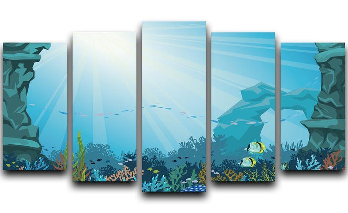 Underwater arch on a blue sea 5 Split Panel Canvas