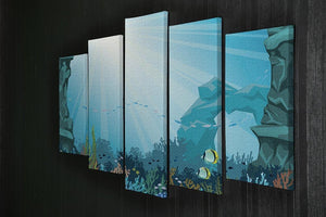 Underwater arch on a blue sea 5 Split Panel Canvas  - Canvas Art Rocks - 2