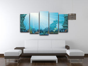Underwater arch on a blue sea 5 Split Panel Canvas  - Canvas Art Rocks - 3