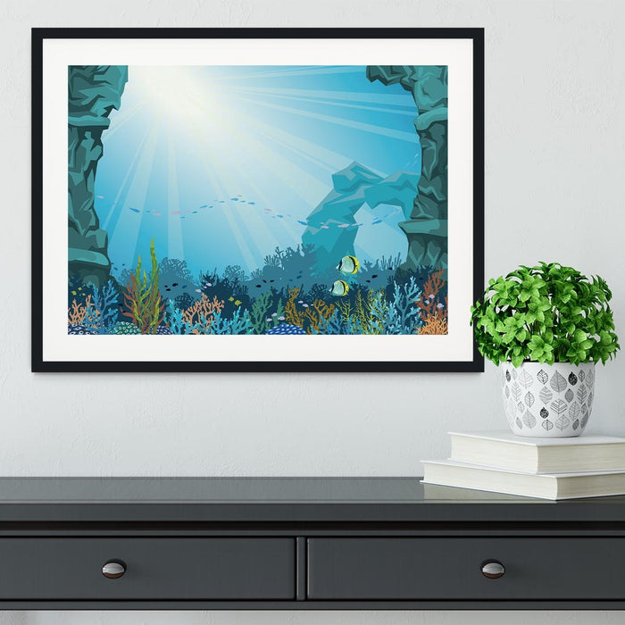 Underwater arch on a blue sea Framed Print