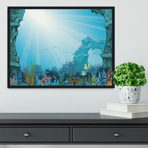 Underwater arch on a blue sea Framed Print - Canvas Art Rocks - 2