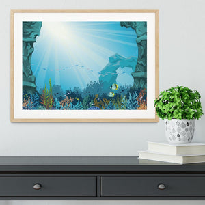 Underwater arch on a blue sea Framed Print - Canvas Art Rocks - 3