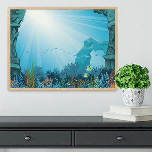 Underwater arch on a blue sea Framed Print - Canvas Art Rocks - 4