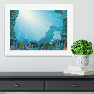 Underwater arch on a blue sea Framed Print - Canvas Art Rocks - 5