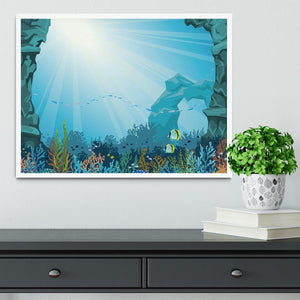 Underwater arch on a blue sea Framed Print - Canvas Art Rocks -6