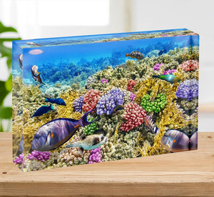Underwater world with corals and tropical fish Acrylic Block - Canvas Art Rocks - 2
