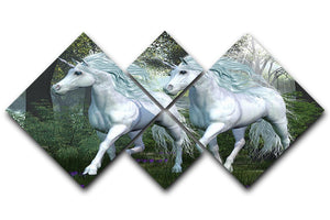 Unicorn Elm Forest 4 Square Multi Panel Canvas  - Canvas Art Rocks - 1