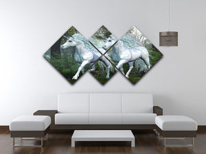 Unicorn Elm Forest 4 Square Multi Panel Canvas  - Canvas Art Rocks - 3