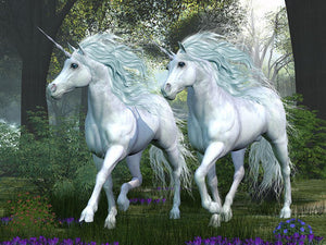 Unicorn Elm Forest Wall Mural Wallpaper - Canvas Art Rocks - 1