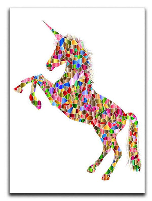Unicorn Jumping Mosaic Canvas Print or Poster - Canvas Art Rocks