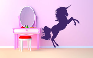 Unicorn Jumping Wall Decal - Canvas Art Rocks - 1