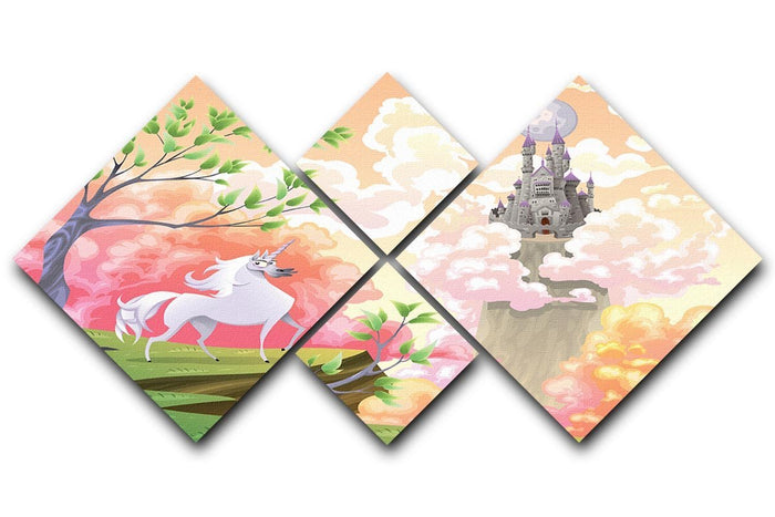 Unicorn and mythological landscape 4 Square Multi Panel Canvas