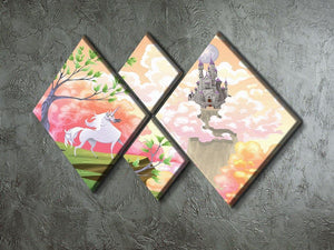 Unicorn and mythological landscape 4 Square Multi Panel Canvas  - Canvas Art Rocks - 2