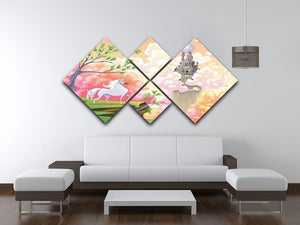 Unicorn and mythological landscape 4 Square Multi Panel Canvas  - Canvas Art Rocks - 3