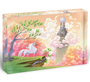 Unicorn and mythological landscape Acrylic Block - Canvas Art Rocks - 1