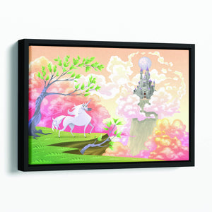 Unicorn and mythological landscape Floating Framed Canvas