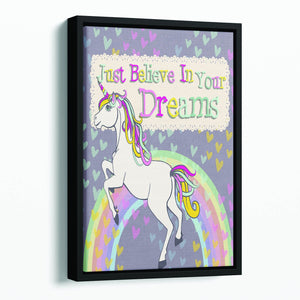 Unicorn believe in your dreams Floating Framed Canvas