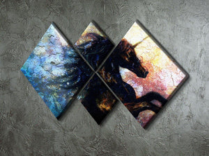Unicorn dancing 4 Square Multi Panel Canvas  - Canvas Art Rocks - 2