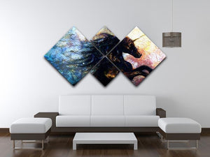 Unicorn dancing 4 Square Multi Panel Canvas  - Canvas Art Rocks - 3