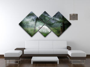 Unicorn in a magical forest 4 Square Multi Panel Canvas  - Canvas Art Rocks - 3