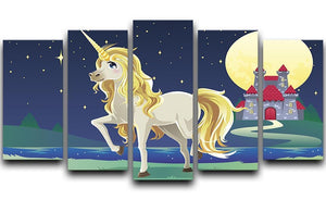 Unicorn outside of a castle 5 Split Panel Canvas  - Canvas Art Rocks - 1