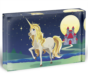 Unicorn outside of a castle Acrylic Block - Canvas Art Rocks - 1