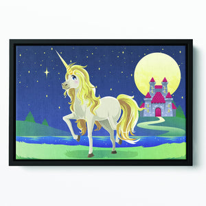Unicorn outside of a castle Floating Framed Canvas
