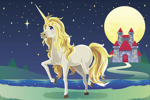 Unicorn outside of a castle Wall Mural Wallpaper - Canvas Art Rocks - 1