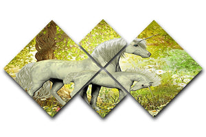 Unicorns and White Daisies 4 Square Multi Panel Canvas  - Canvas Art Rocks - 1