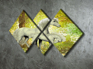 Unicorns and White Daisies 4 Square Multi Panel Canvas  - Canvas Art Rocks - 2