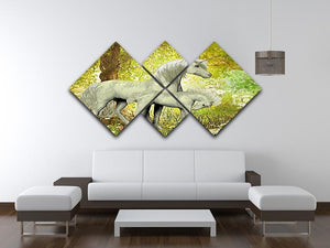 Unicorns and White Daisies 4 Square Multi Panel Canvas  - Canvas Art Rocks - 3