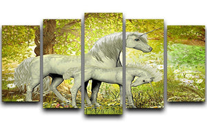 Unicorns and White Daisies 5 Split Panel Canvas  - Canvas Art Rocks - 1