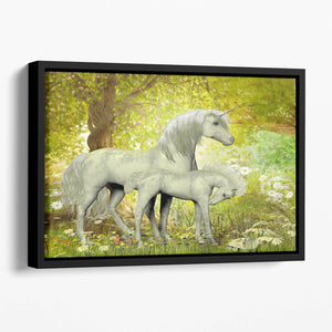 Unicorns and White Daisies Floating Framed Canvas