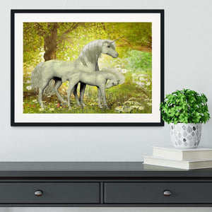 Unicorns and White Daisies Framed Print - Canvas Art Rocks - 1